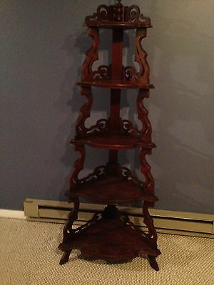 Walnut Victorian Antique What Not Shelf