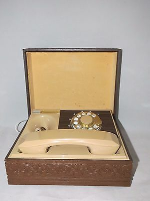Vtg Mid Century Modern Western Electric Deco-Tel Rotary Dial Telephone in Case
