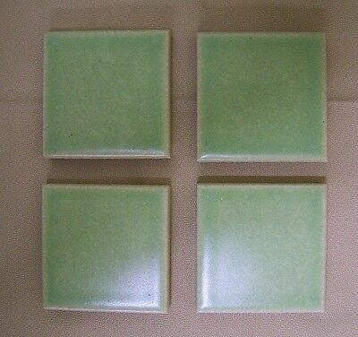 "1 Vintage 3"" small thick TILE Pale Green Crackle Finish Glazed Ceramic Wall NOS"