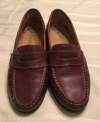 Men's Bass Leather Shoes Loafers Slip On Size 10.5 Brown Penny Nice