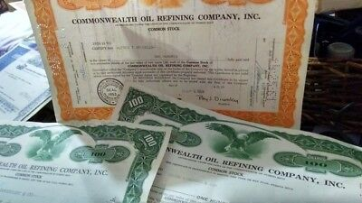 100 Shares 1950s and 60s commonwealth stock certificates