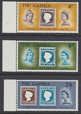 Gambia 1969 Stamp Centenary stamp on stamp set with selvedge sg256-258 vlhm