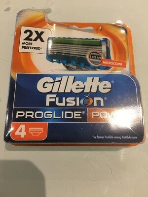Gillette Fusion Proglide Power Replacement Blades Cartridges x 4 Pack Freepost