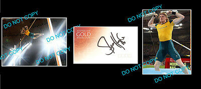 Steve Hooker Olympic Pole Vault Gold Signed + 2 Photos