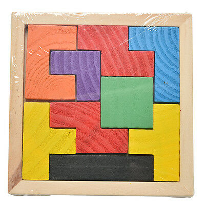 Wooden Tangram Brain Teaser Puzzle Tetris Game Educational Baby Child Toy FO