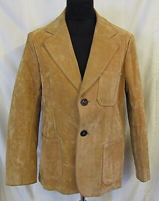"Made In Italy Sarpell Vintage Velour Leather Jacket Chest 42"" Chest Tan Lined L"