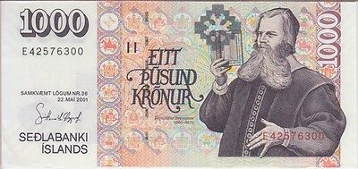 Iceland Banknote P#59-6300 1000  Kronur One Signature 2001 Almost Uncirculated