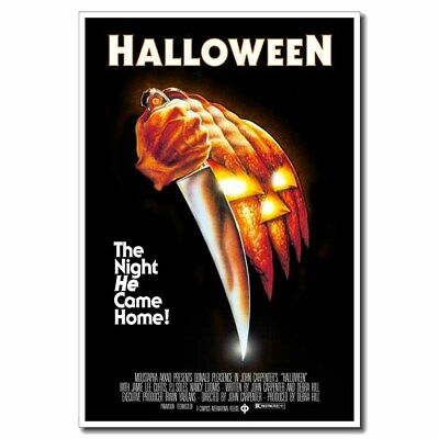 """Halloween 24""""x36"""" Classic Movie Silk Poster Horror Pumpkin Face With Knife"""