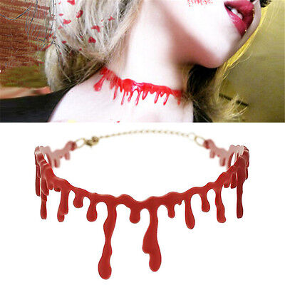 1pc Halloween Dripping Blood Choker Blood drip Necklace Gothic Horror Creepy FO