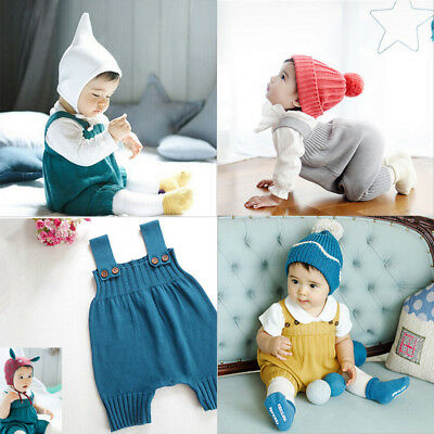 Baby Sweater Solid Jumpsuit Newborn Boys Girls Knitted  Clothing Romper FO