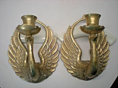 Pair of Vintage Brass Bird Peacock Candle Holders Wall Sconces