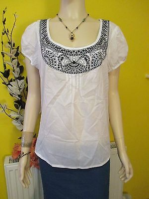Monsoon White Short Sleeved Kaftan Tunic With Black Embroidery Size 18 Summer