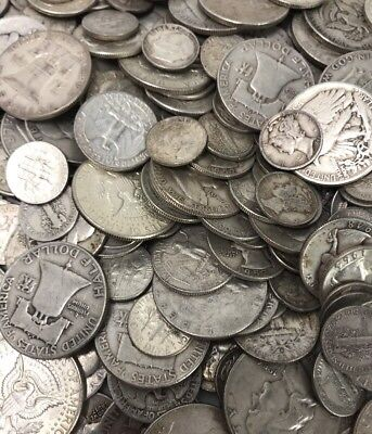 $1 Face Value 90% Average Coin Mixed Lot Dimes Quarters Half Dollars Pre-1965