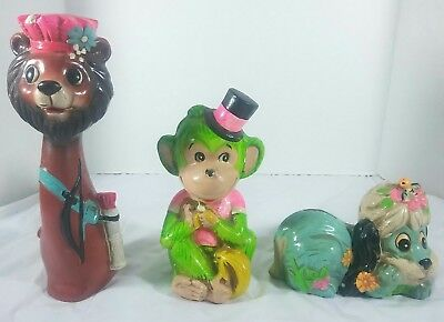 Lot of 3: Vintage Ceramic Coin Banks/Made in Japan/1960s/Animal Themed
