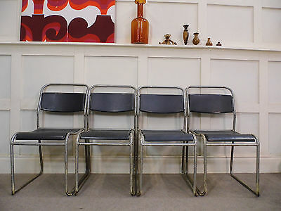 Vintage retro Industrial PEL stacking cafe bar dining kitchen bauhaus chairs 50s