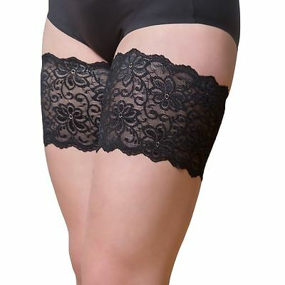 "Bandelettes DOLCE BLACK  Elastic Anti Chafing Thigh Bands 6"" in length"