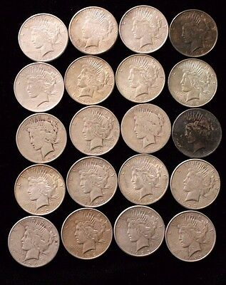 (20) Peace Silver Dollar - Roll of 20 coins  *Circulated* - Random Date 022