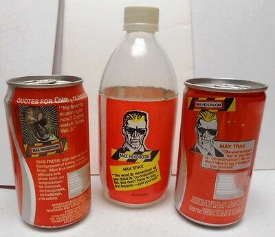 3 Max Headroom Items-2 Cans/1 Bottle-Test Can??-Bottle has Foam Label