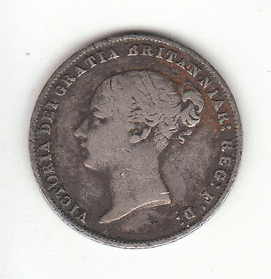 1867 Great Britain Queen Victoria Silver Sixpence. Die # 1. Very Rare. R2