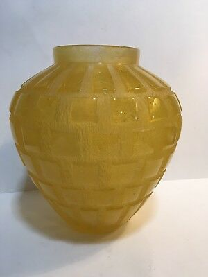 "Heavy Daum Crystal Pate De Verre Art Deco ""Rhythms"" Vase RARE Color $7,150"