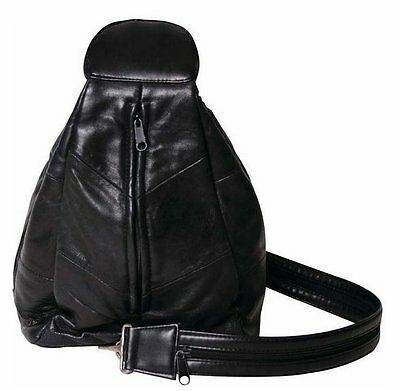 Embassy Solid Genuine Lambskin BLACK soft Leather Hobo Sling / Backpack Purse