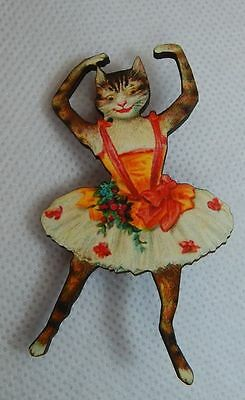 Vintage Style Ballerina Cat Brooch or Scarf Pin Wood Accessories Fashion NEW