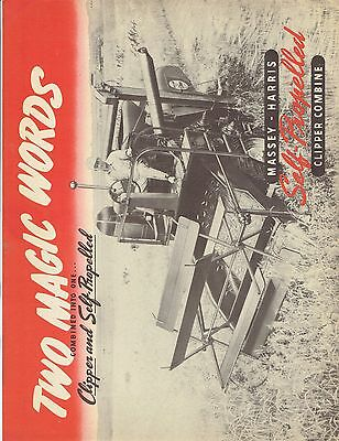 Massey Harris Self-Propelled Clipper Combine Sales Catalog Brochure Ad. 352 8-44