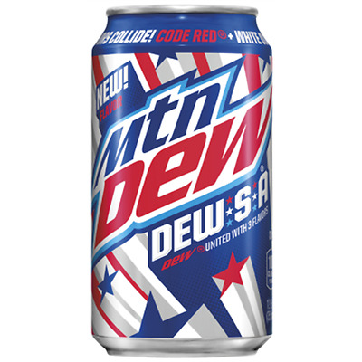 Mountain Dew Dew.S.A Limited Edition Full Can 12 Oz Code Red White Out Voltage