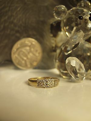 9Ct Yellow Gold Ladies Diamond Cluster Ring / Size : K 1/2 - Hallmarked : 9Ct