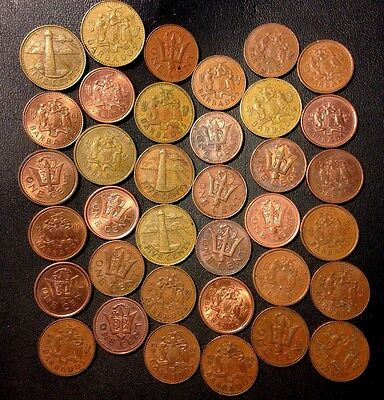 Old Barbados Coin Lot - 36 Lower Mintage Coins - Lot #817