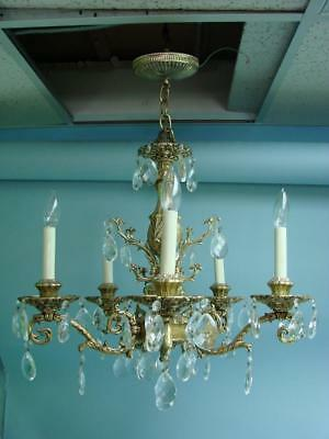 Vintage 1960's Brass Prism Crystal Chandelier Hanging Ceiling Light Fixture