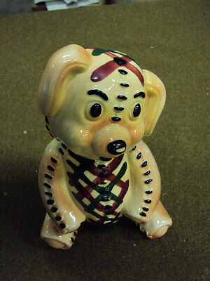 Pottery Sitting Dog Bank in Plaid Suit