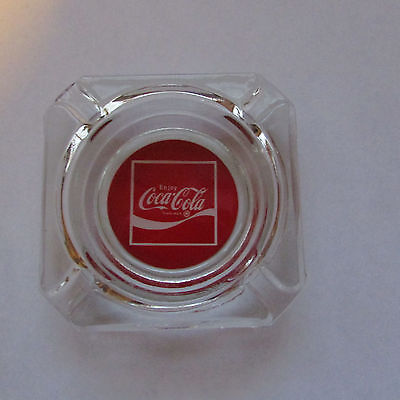 Vintage Coca Cola Clear Glass Square Ashtray
