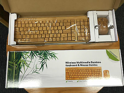 Bamboo Wooden Keyboard&Mouse Combo Wireless Multimedia Healthy Eco Friendly