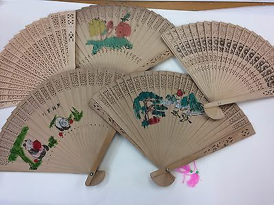 2* Bamboo Fan Useful Hand Folding Fans Outdoor Wedding Party vintage gifts 竹扇 扇子