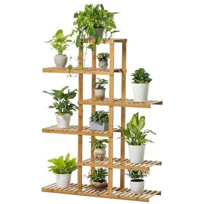 Bamboo Indoor Outdoor Garden Planter Flower Pots Stand Multi Shelves Multi Use