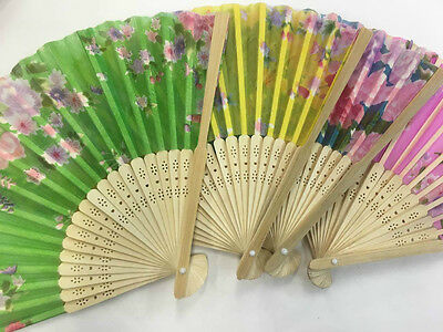 2* Bamboo Silk Fan Hand Folding Fans Outdoor Wedding Party vintage gifts 竹扇 扇子