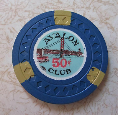 Obsolete, Early  Rare, Avalon Club $.50 Casino Chip, Excellent