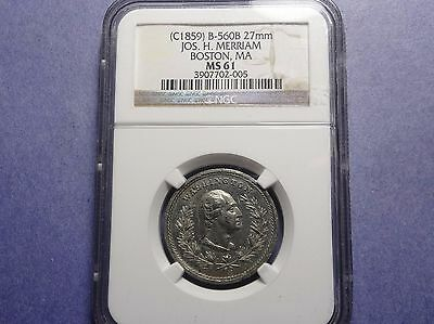 (C) 1859 Jos. H. Merriam Merchant Token B-560B White Metal 27mm NGC MS-61