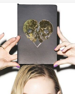 Lauren Moshi Gold Foil Notebook Heart Skulls Diary Journal Happy Rebel Skull