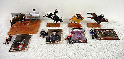 Four PBR Professional Bull Riders Sets : Includes Cowboys, Bulls & Trading Cards