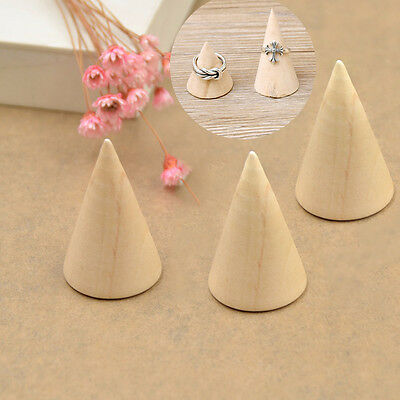 Chic Wood Ring Display Jewelry Stand Holder organize Storage Showcase Cone Shape