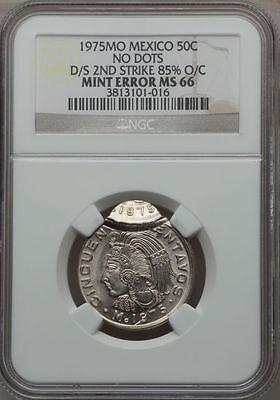 1975-Mo MEXICO NO DOTS 50C MINT ERROR DOUBLE STRUCK 2ND STRIKE 85% OC NGC MS-66