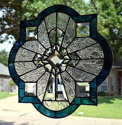 "Stained Glass Window Panel ""Brilliant Cross"""