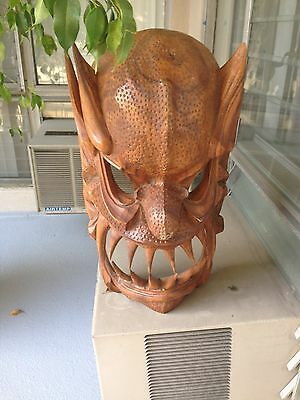 """Tribal Mask Wood Hand Carved 20-21"""" Tall"""