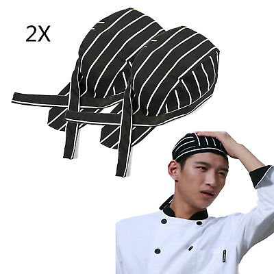 2X Men Women Fashion Chef Hats Catering Baker Waiter Kitchen Cook Caps Stripes