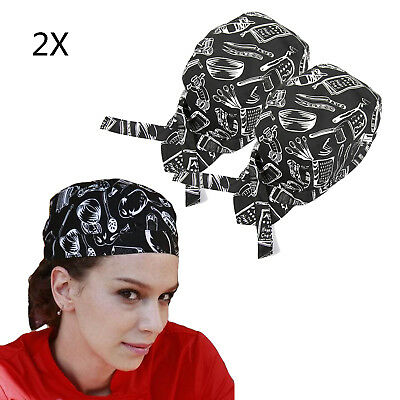 2X Men Women Fashion Chef Hats Catering Baker Waiter Kitchen Cook Caps Pattern
