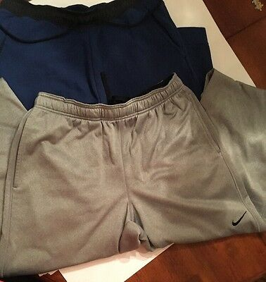 Lot Of 2 Nike Joggers Sweat Pants NAVY SLIM / GRAY THERMA-FIT SZ LARGE