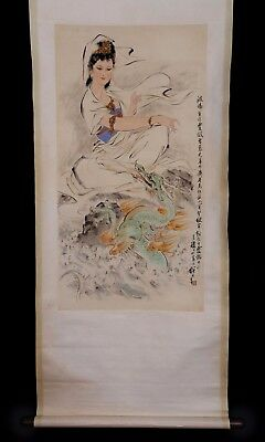 Rare Exquisite Chinese Hand Painting Figures Dragon Wall Scroll Decorated KK731