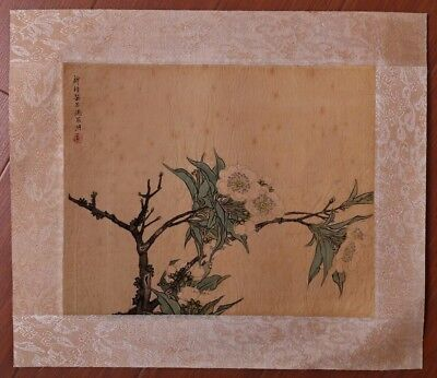 Nice Unique Chinese Handwork Landscape Paper Old Painting Flowers Mark PP358